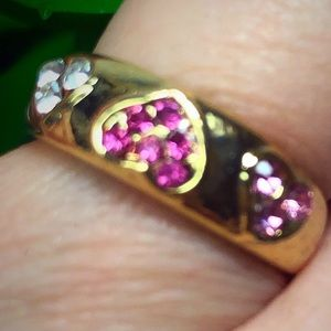 Pretty Pink Stone Heart Ring 6.5